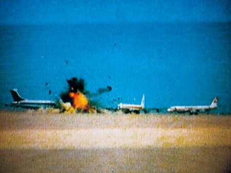 Three hijacked planes on a desert airstrip near Amman, Jordan, 12 September 1970